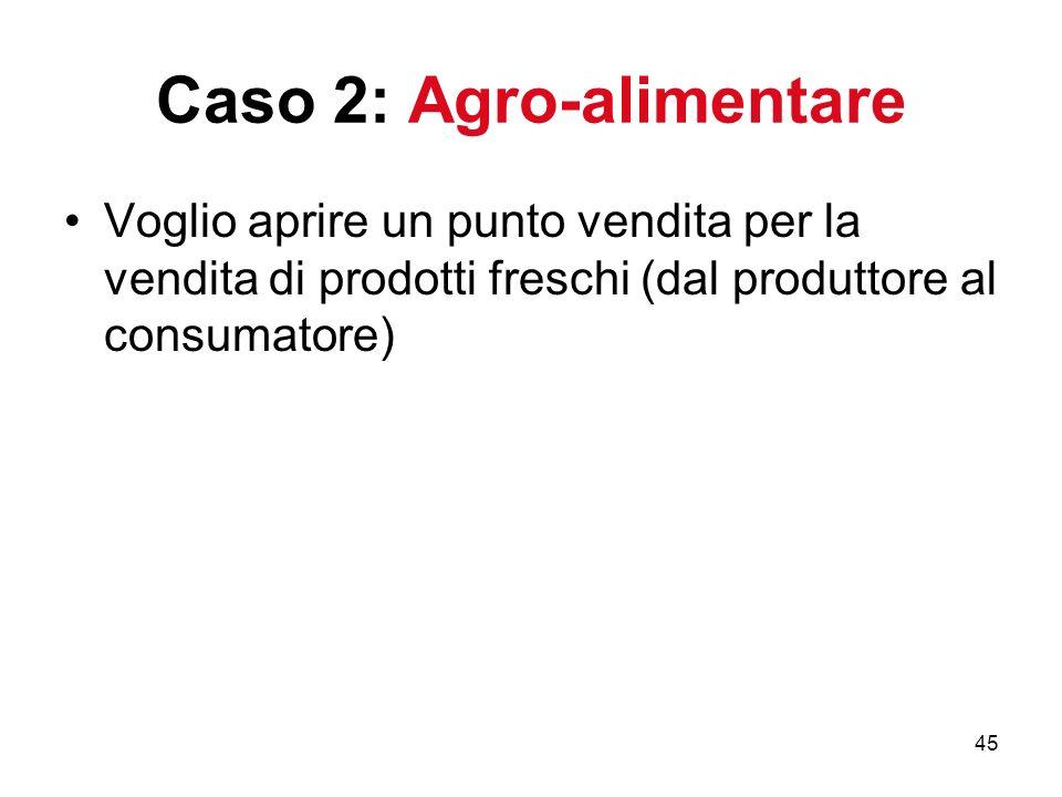45 Caso 2: Agro-alimentare Voglio aprire un punto vendita per la vendita di prodotti freschi (dal produttore al consumatore)