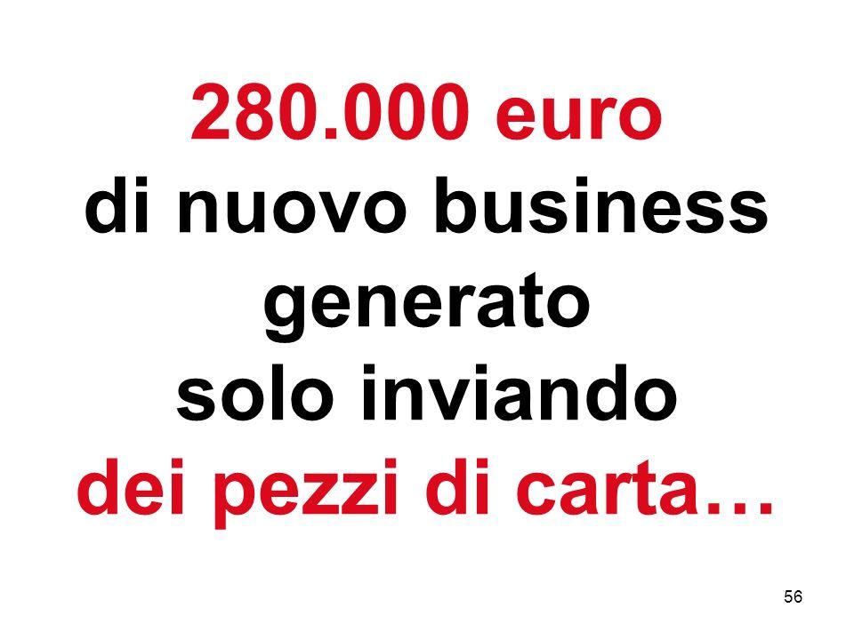 56 280.000 euro di nuovo business generato solo inviando dei pezzi di carta…