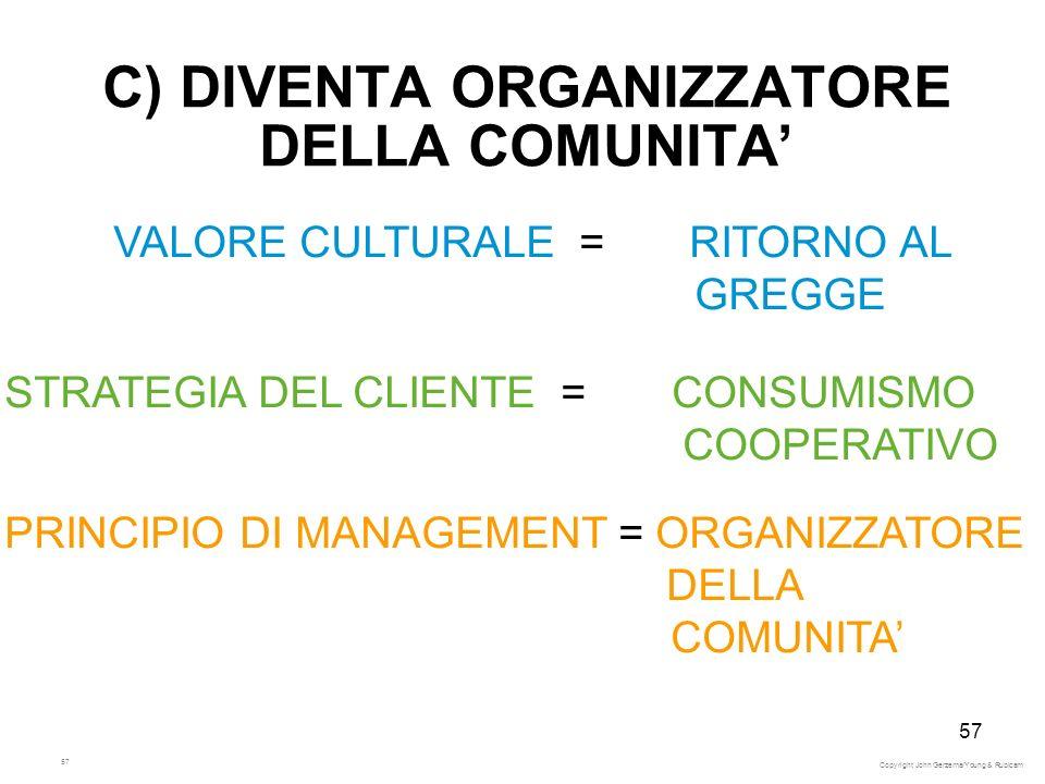 57 C) DIVENTA ORGANIZZATORE DELLA COMUNITA VALORE CULTURALE = RITORNO AL GREGGE STRATEGIA DEL CLIENTE = CONSUMISMO COOPERATIVO PRINCIPIO DI MANAGEMENT