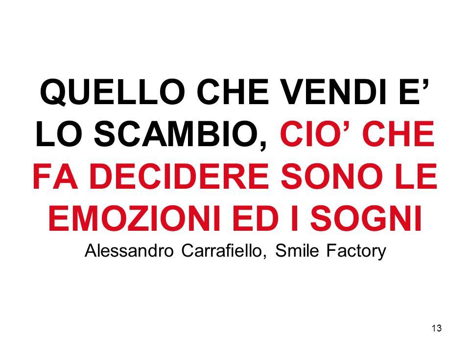 13 QUELLO CHE VENDI E LO SCAMBIO, CIO CHE FA DECIDERE SONO LE EMOZIONI ED I SOGNI Alessandro Carrafiello, Smile Factory