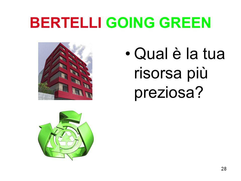 28 BERTELLI GOING GREEN Qual è la tua risorsa più preziosa?