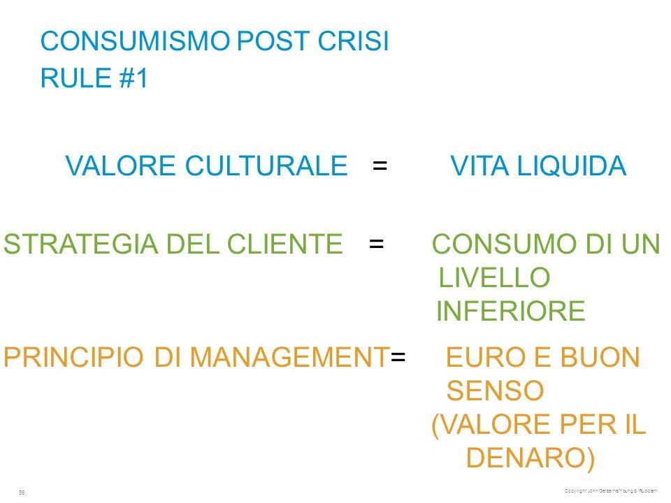 CONSUMISMO POST CRISI RULE #1 VALORE CULTURALE = VITA LIQUIDA Copyright John Gerzema/Young & Rubicam 56 STRATEGIA DEL CLIENTE = CONSUMO DI UN LIVELLO INFERIORE PRINCIPIO DI MANAGEMENT= EURO E BUON SENSO (VALORE PER IL DENARO)
