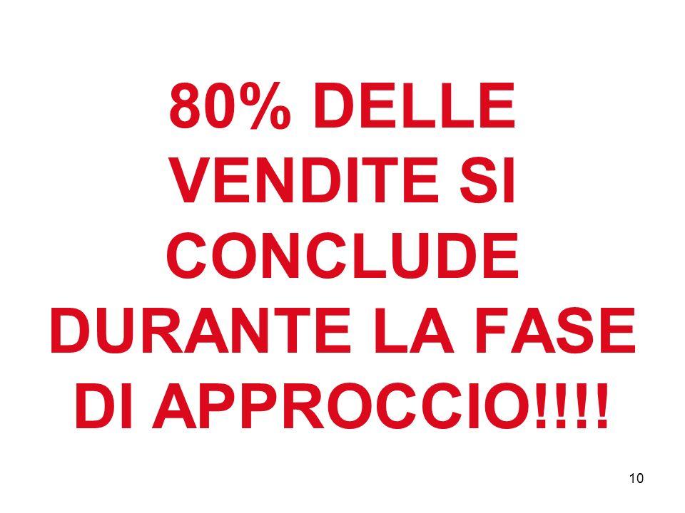 10 80% DELLE VENDITE SI CONCLUDE DURANTE LA FASE DI APPROCCIO!!!!