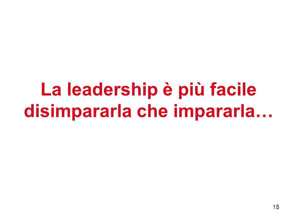 15 La leadership è più facile disimpararla che impararla…