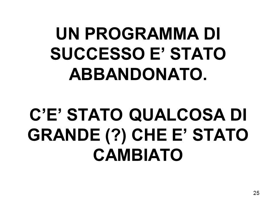25 UN PROGRAMMA DI SUCCESSO E STATO ABBANDONATO.