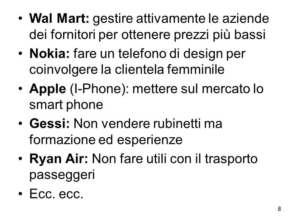 8 Wal Mart: gestire attivamente le aziende dei fornitori per ottenere prezzi più bassi Nokia: fare un telefono di design per coinvolgere la clientela femminile Apple (I-Phone): mettere sul mercato lo smart phone Gessi: Non vendere rubinetti ma formazione ed esperienze Ryan Air: Non fare utili con il trasporto passeggeri Ecc.