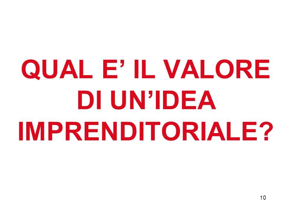 10 QUAL E IL VALORE DI UNIDEA IMPRENDITORIALE?