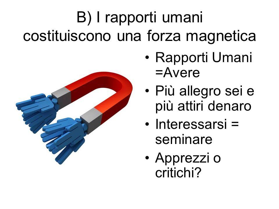 B) I rapporti umani costituiscono una forza magnetica Rapporti Umani =Avere Più allegro sei e più attiri denaro Interessarsi = seminare Apprezzi o critichi