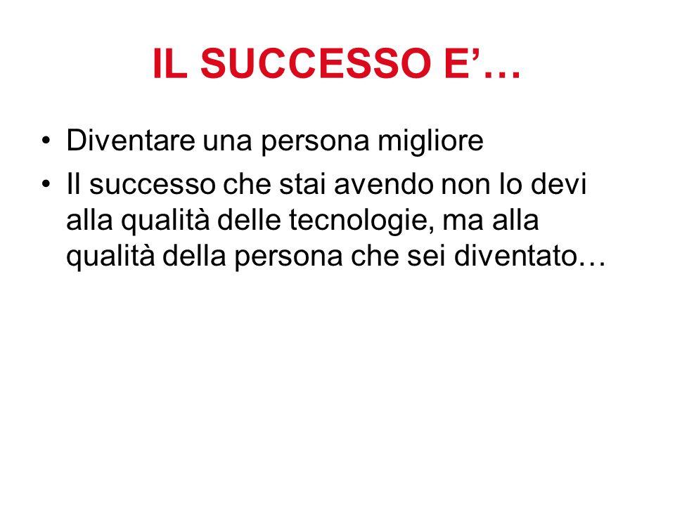 IL SUCCESSO E… Diventare una persona migliore Il successo che stai avendo non lo devi alla qualità delle tecnologie, ma alla qualità della persona che sei diventato…