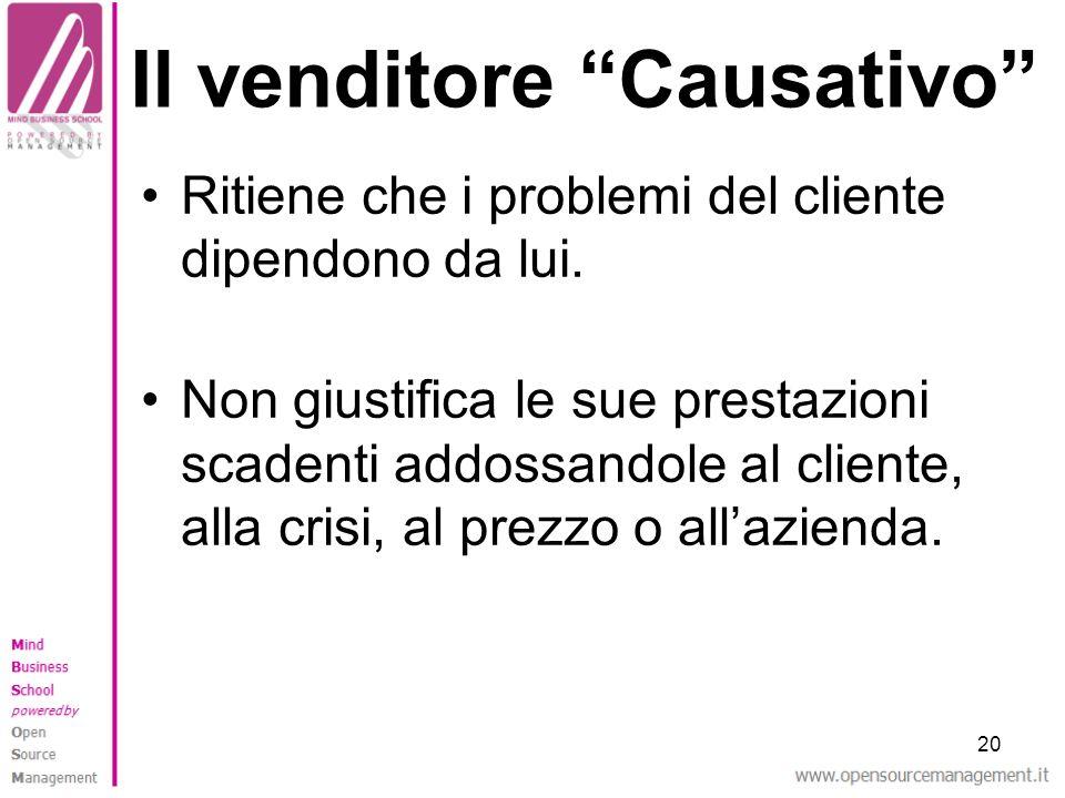 20 Il venditore Causativo Ritiene che i problemi del cliente dipendono da lui. Non giustifica le sue prestazioni scadenti addossandole al cliente, all