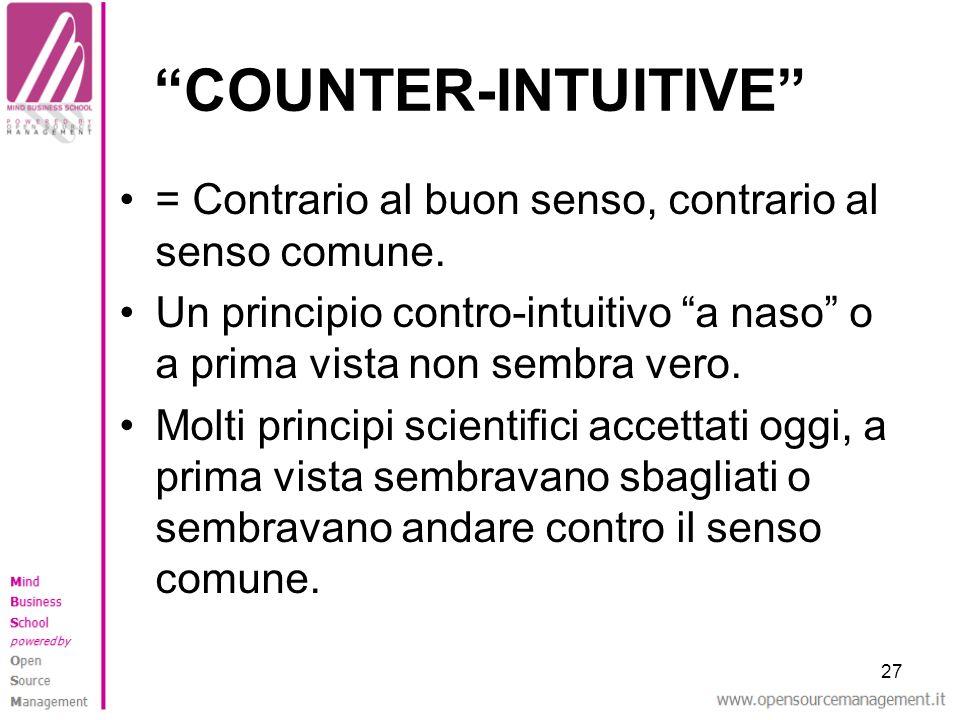 27 COUNTER-INTUITIVE = Contrario al buon senso, contrario al senso comune. Un principio contro-intuitivo a naso o a prima vista non sembra vero. Molti
