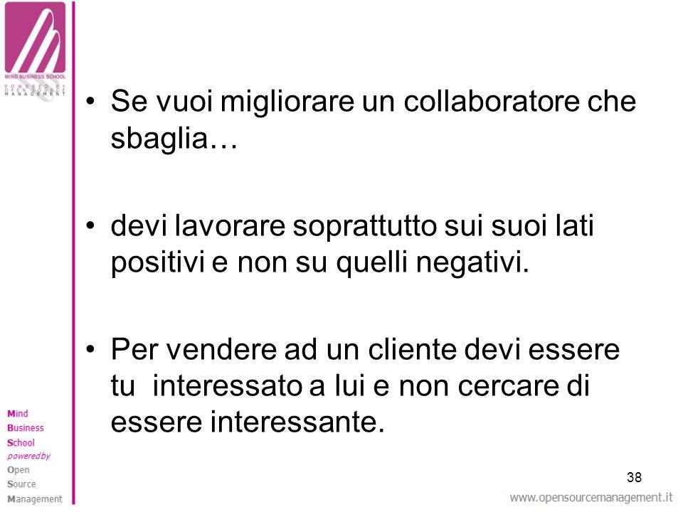 38 Se vuoi migliorare un collaboratore che sbaglia… devi lavorare soprattutto sui suoi lati positivi e non su quelli negativi. Per vendere ad un clien