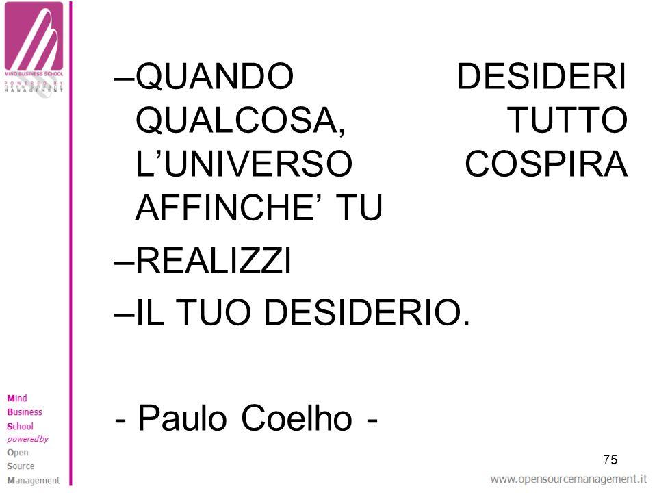 75 –QUANDO DESIDERI QUALCOSA, TUTTO LUNIVERSO COSPIRA AFFINCHE TU –REALIZZI –IL TUO DESIDERIO. - Paulo Coelho -