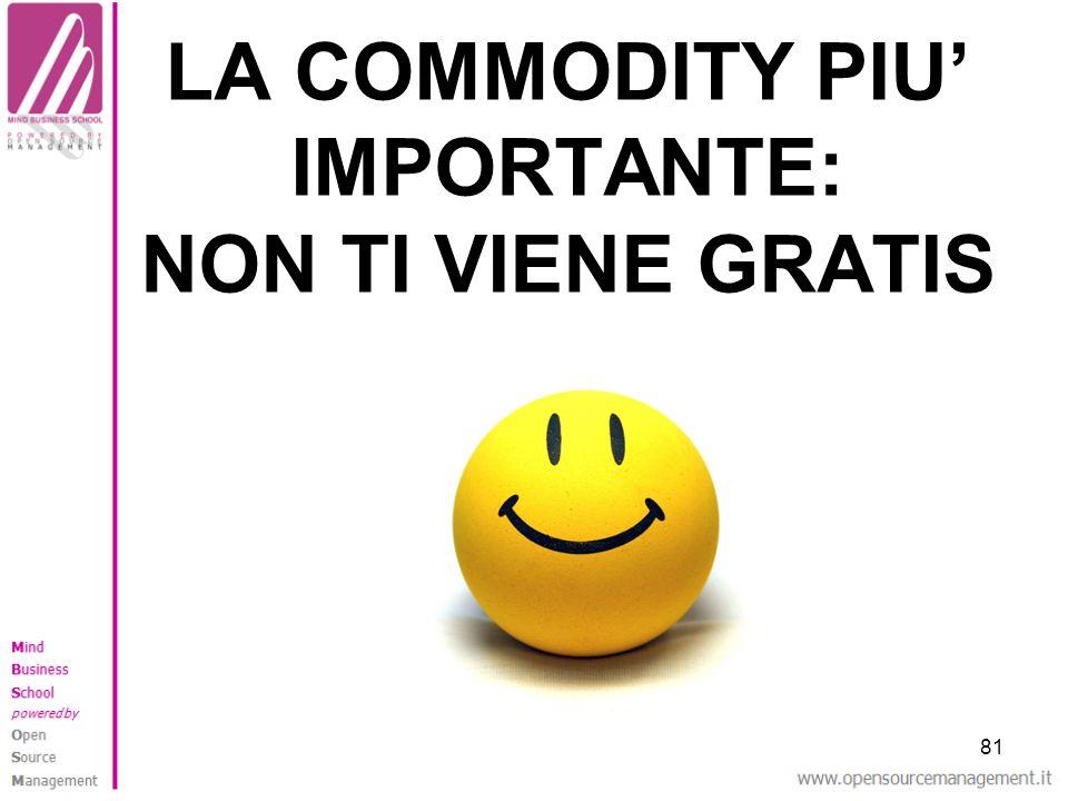 81 LA COMMODITY PIU IMPORTANTE: NON TI VIENE GRATIS