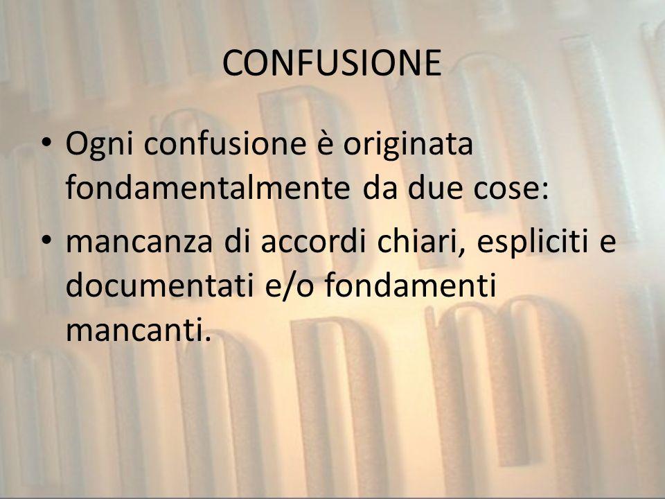 CONFUSIONE Ogni confusione è originata fondamentalmente da due cose: mancanza di accordi chiari, espliciti e documentati e/o fondamenti mancanti.
