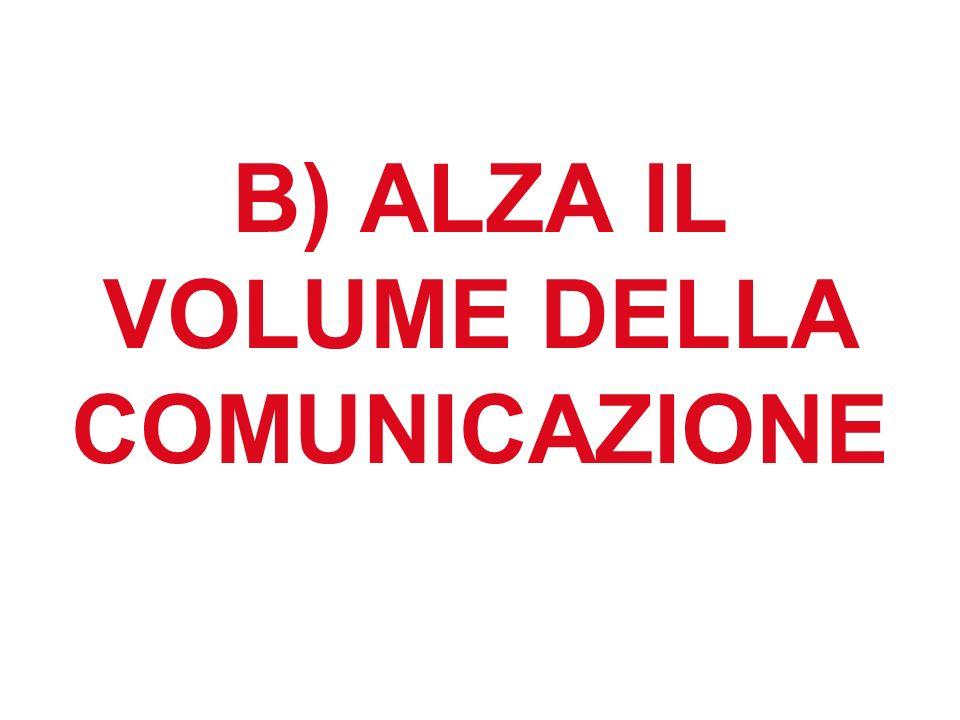 B) ALZA IL VOLUME DELLA COMUNICAZIONE