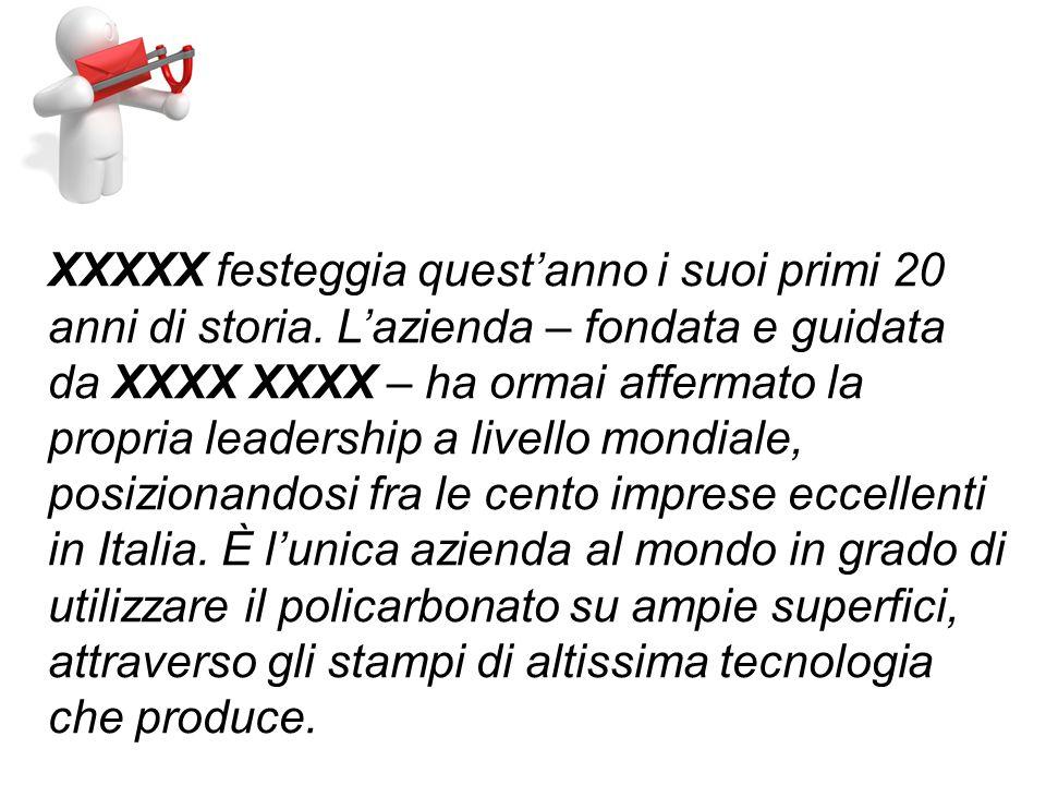XXXXX festeggia questanno i suoi primi 20 anni di storia.