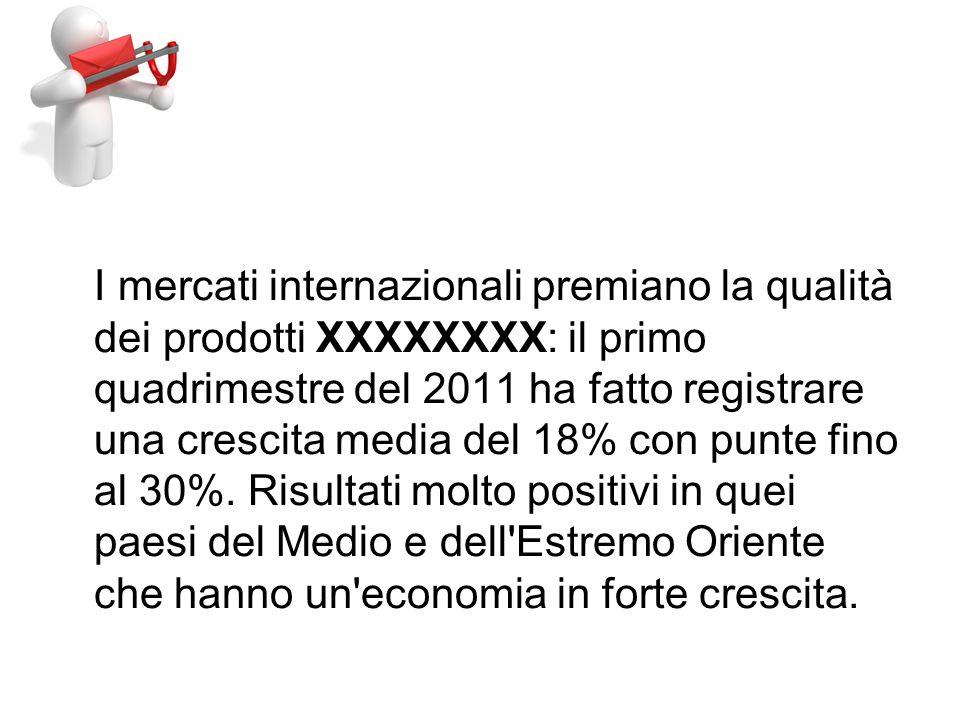I mercati internazionali premiano la qualità dei prodotti XXXXXXXX: il primo quadrimestre del 2011 ha fatto registrare una crescita media del 18% con punte fino al 30%.