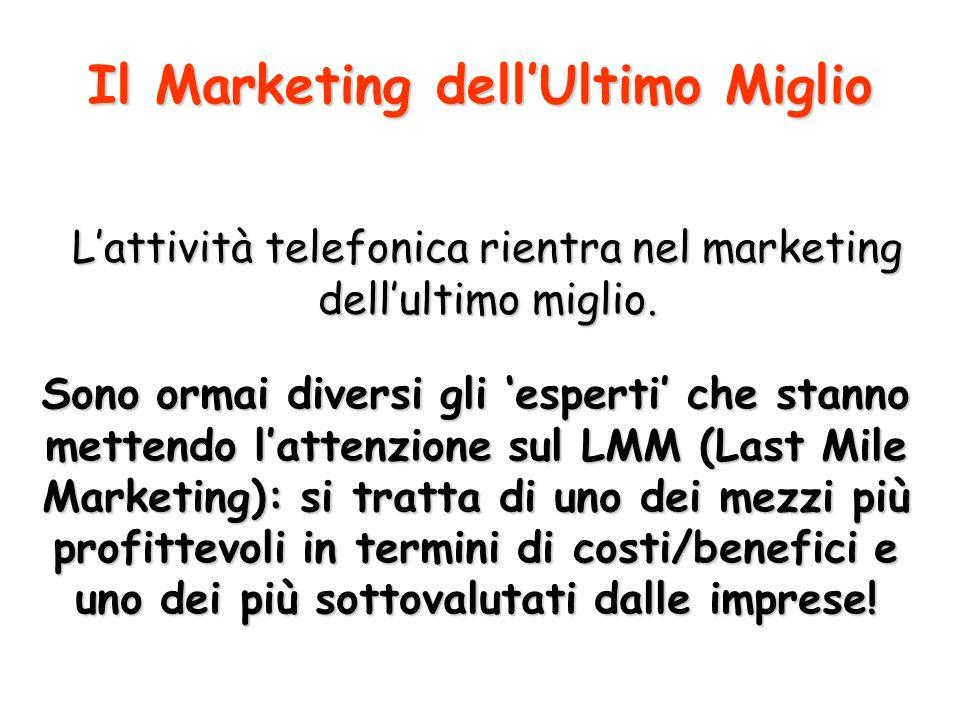 Lattività telefonica rientra nel marketing dellultimo miglio.