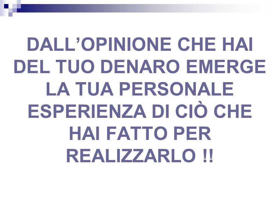 DALLOPINIONE CHE HAI DEL TUO DENARO EMERGE LA TUA PERSONALE ESPERIENZA DI CIÒ CHE HAI FATTO PER REALIZZARLO !!