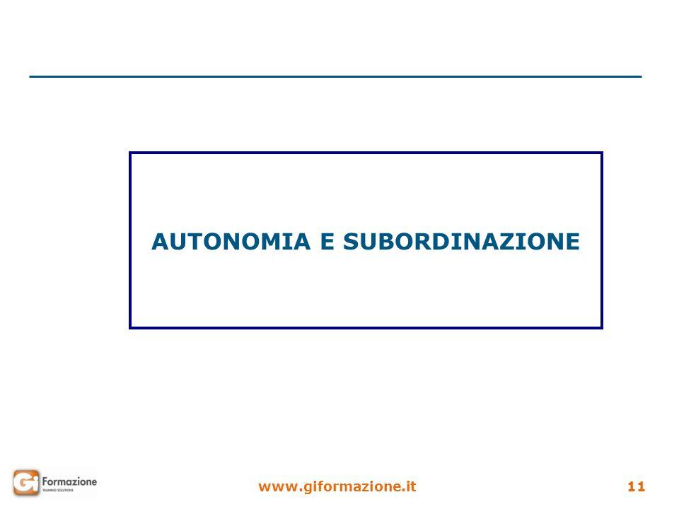 www.giformazione.it11 AUTONOMIA E SUBORDINAZIONE