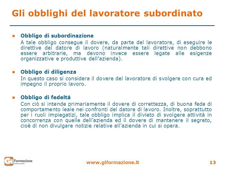 www.giformazione.it13 Gli obblighi del lavoratore subordinato Obbligo di subordinazione A tale obbligo consegue il dovere, da parte del lavoratore, di