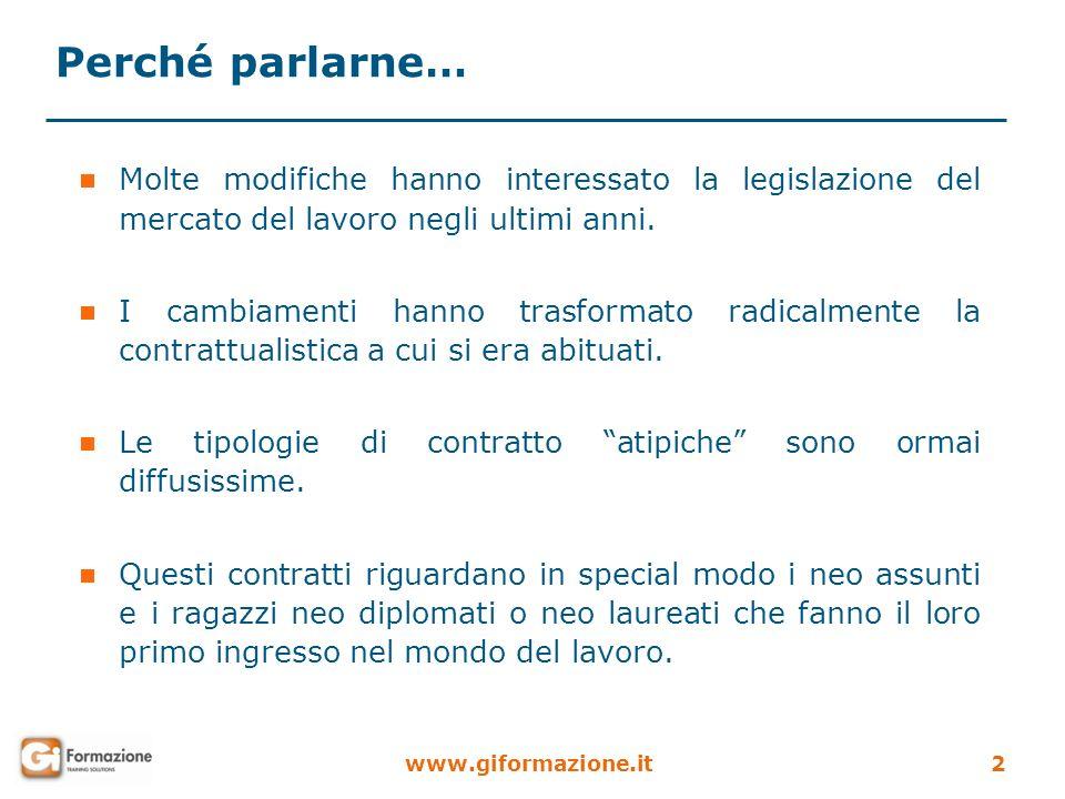 www.giformazione.it2 Perché parlarne… Molte modifiche hanno interessato la legislazione del mercato del lavoro negli ultimi anni. I cambiamenti hanno