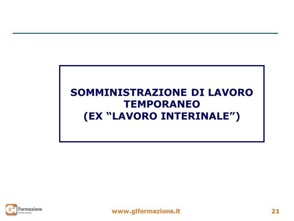 www.giformazione.it21 SOMMINISTRAZIONE DI LAVORO TEMPORANEO (EX LAVORO INTERINALE)