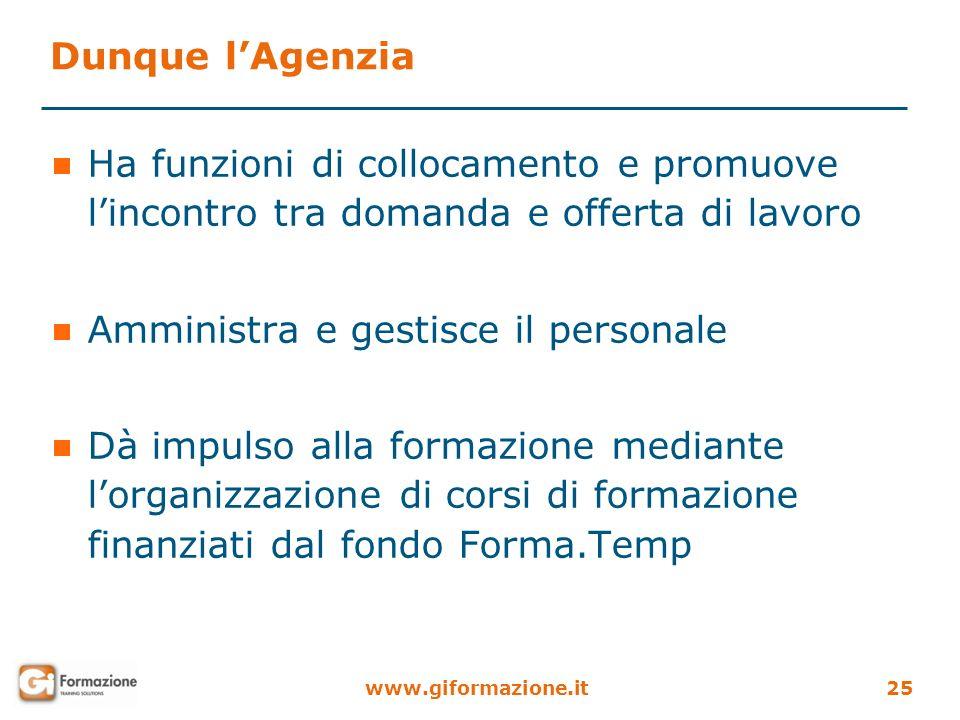 www.giformazione.it25 Dunque lAgenzia Ha funzioni di collocamento e promuove lincontro tra domanda e offerta di lavoro Amministra e gestisce il person