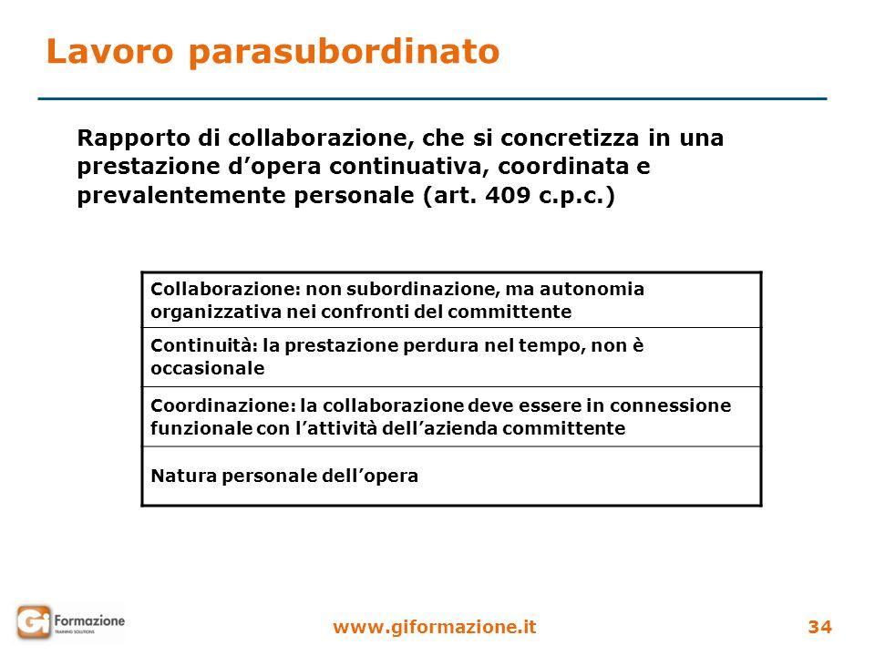 www.giformazione.it34 Rapporto di collaborazione, che si concretizza in una prestazione dopera continuativa, coordinata e prevalentemente personale (a