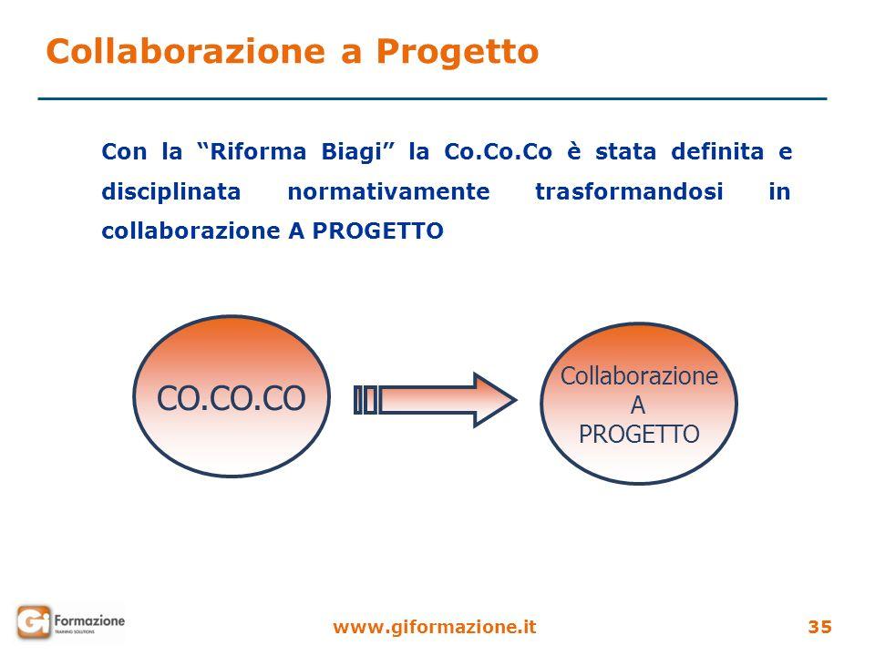 www.giformazione.it35 CO.CO.CO Collaborazione A PROGETTO Con la Riforma Biagi la Co.Co.Co è stata definita e disciplinata normativamente trasformandos