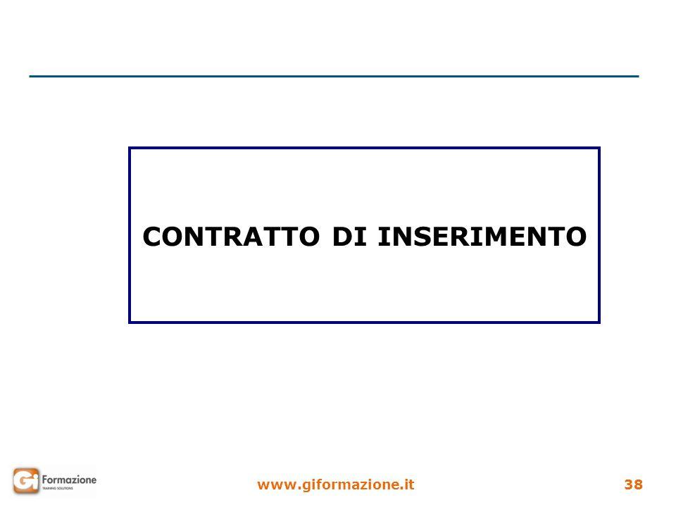 www.giformazione.it38 CONTRATTO DI INSERIMENTO