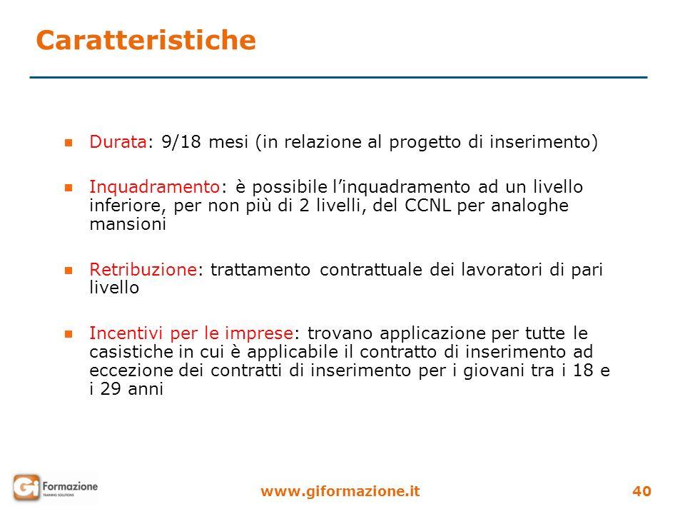 www.giformazione.it40 Durata: 9/18 mesi (in relazione al progetto di inserimento) Inquadramento: è possibile linquadramento ad un livello inferiore, p