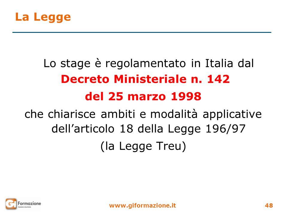 www.giformazione.it48 La Legge Lo stage è regolamentato in Italia dal Decreto Ministeriale n. 142 del 25 marzo 1998 che chiarisce ambiti e modalità ap