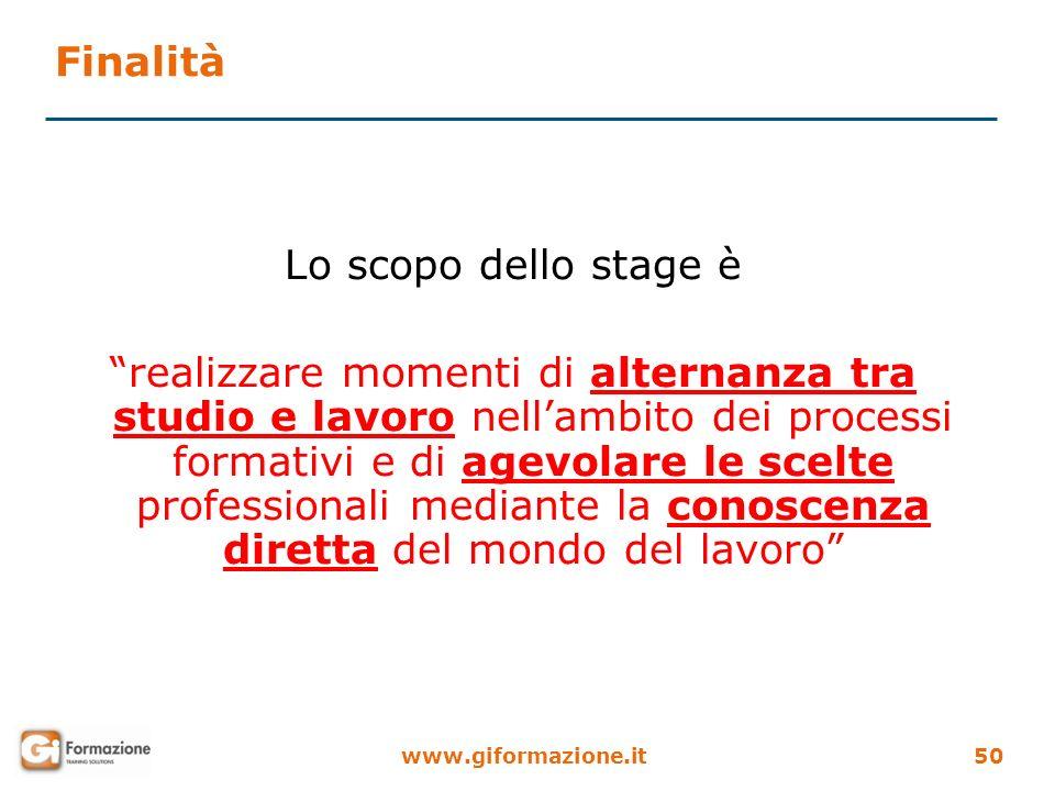 www.giformazione.it50 Finalità Lo scopo dello stage è realizzare momenti di alternanza tra studio e lavoro nellambito dei processi formativi e di agev