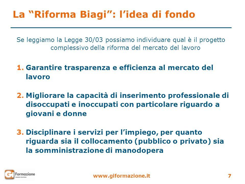 www.giformazione.it7 La Riforma Biagi: lidea di fondo Se leggiamo la Legge 30/03 possiamo individuare qual è il progetto complessivo della riforma del