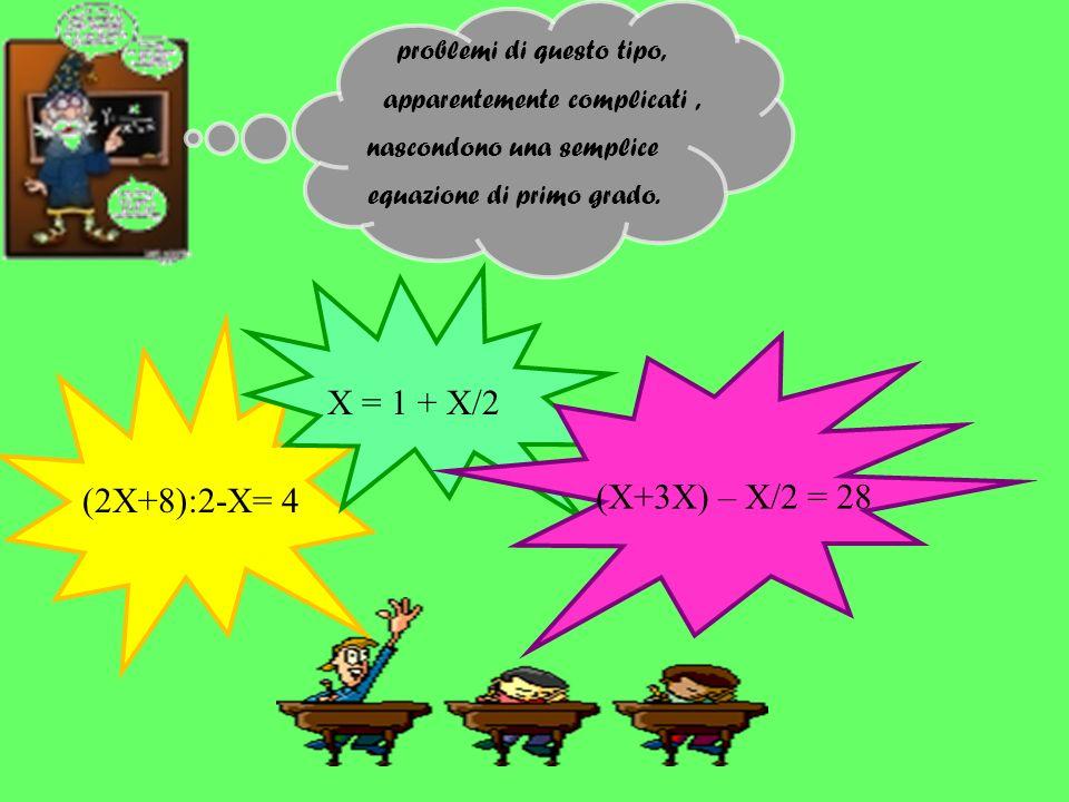 problemi di questo tipo, apparentemente complicati, nascondono una semplice equazione di primo grado. (2X+8):2-X= 4 X = 1 + X/2 (X+3X) – X/2 = 28