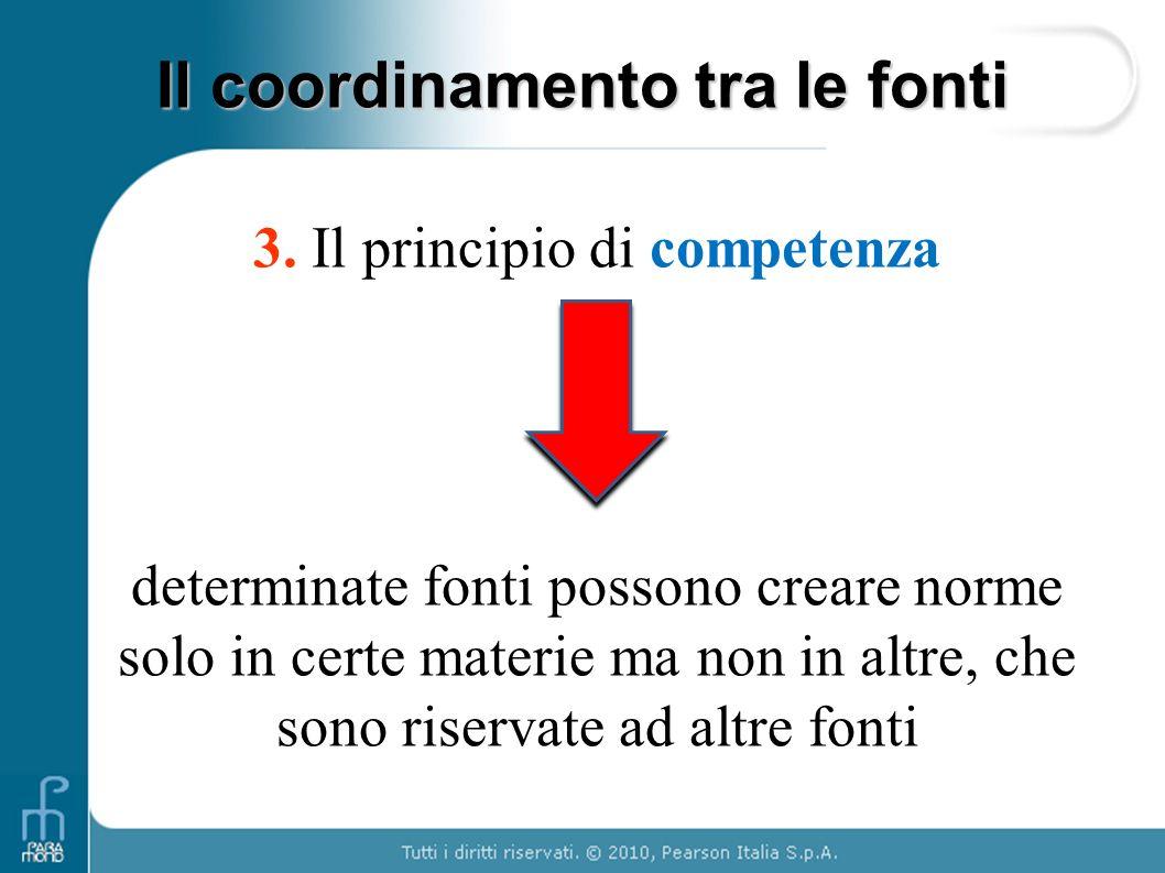 3. Il principio di competenza determinate fonti possono creare norme solo in certe materie ma non in altre, che sono riservate ad altre fonti Il coord