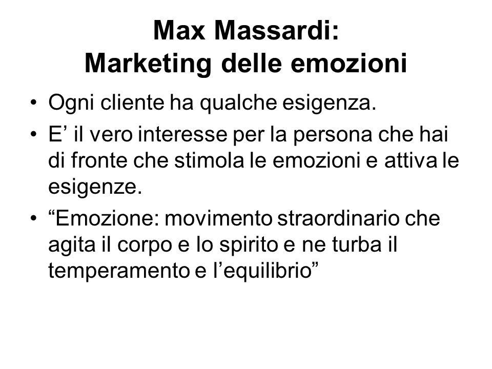 Max Massardi: Marketing delle emozioni Ogni cliente ha qualche esigenza. E il vero interesse per la persona che hai di fronte che stimola le emozioni