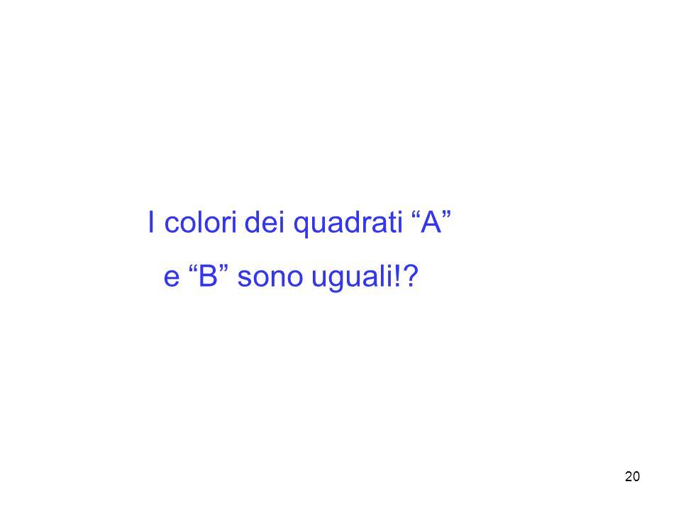 20 I colori dei quadrati A e B sono uguali!