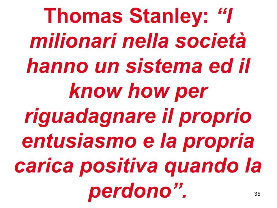 35 Thomas Stanley: I milionari nella società hanno un sistema ed il know how per riguadagnare il proprio entusiasmo e la propria carica positiva quand