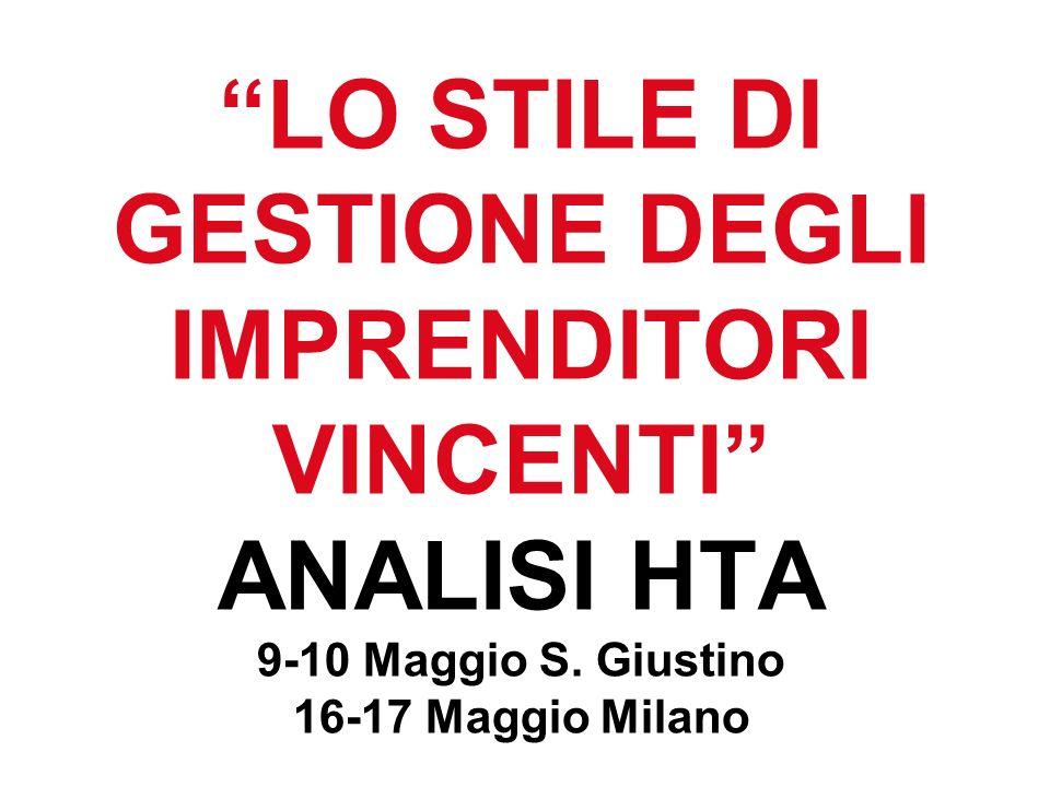 LO STILE DI GESTIONE DEGLI IMPRENDITORI VINCENTI ANALISI HTA 9-10 Maggio S.