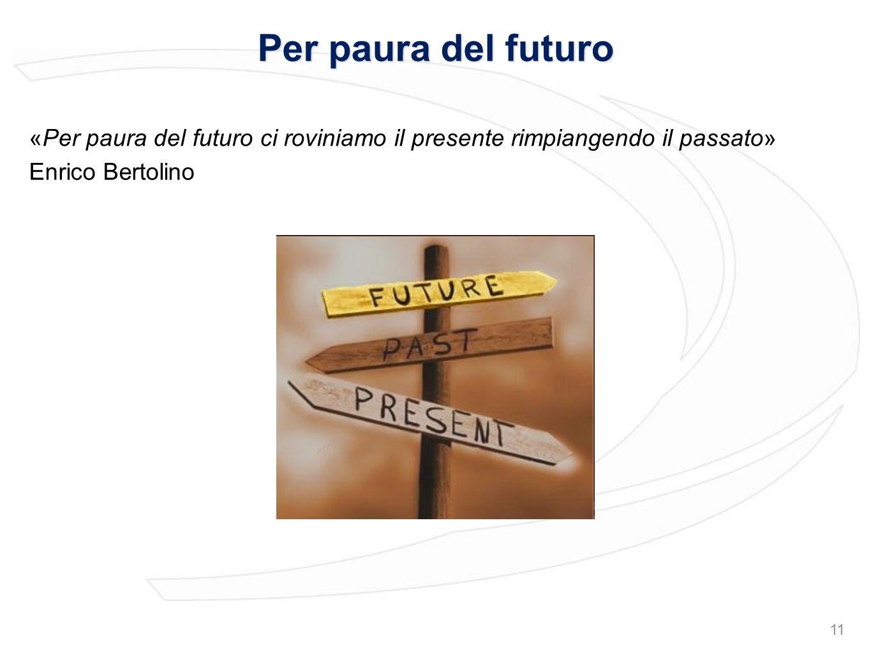 Per paura del futuro «Per paura del futuro ci roviniamo il presente rimpiangendo il passato» Enrico Bertolino 11