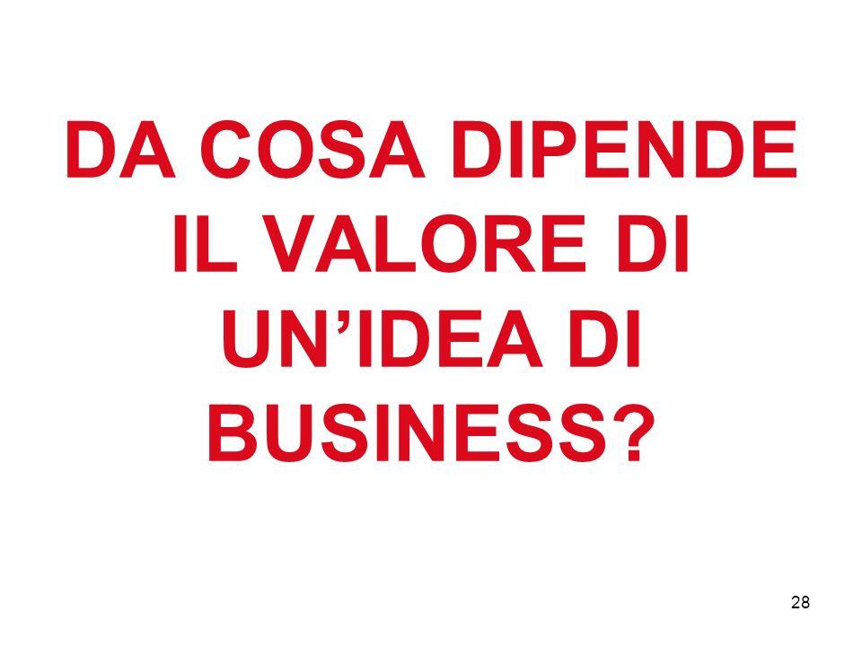 28 DA COSA DIPENDE IL VALORE DI UNIDEA DI BUSINESS?