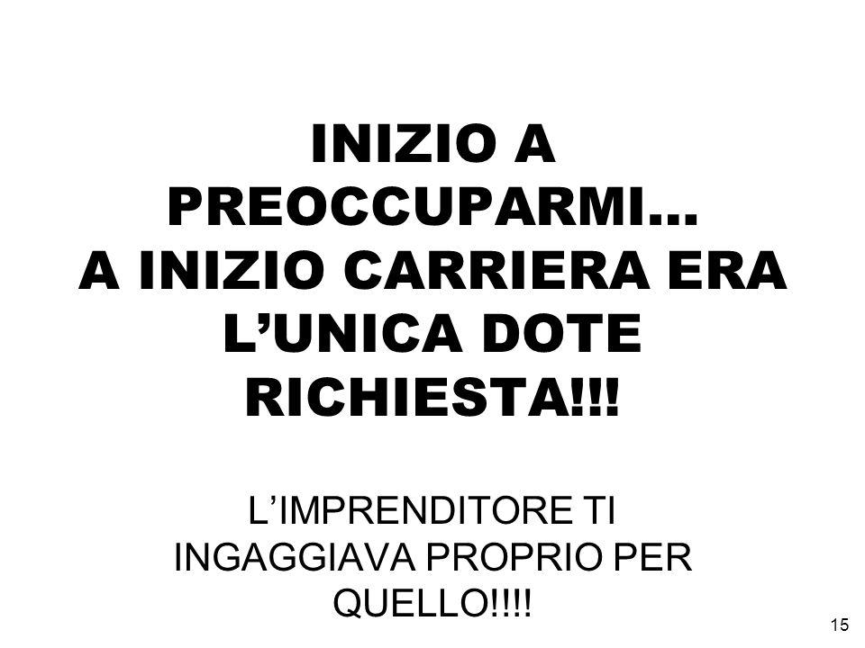 INIZIO A PREOCCUPARMI… A INIZIO CARRIERA ERA LUNICA DOTE RICHIESTA!!.