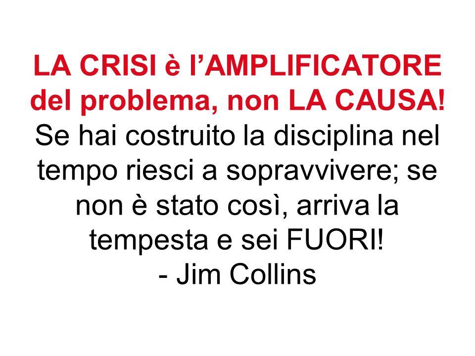 LA CRISI è lAMPLIFICATORE del problema, non LA CAUSA.