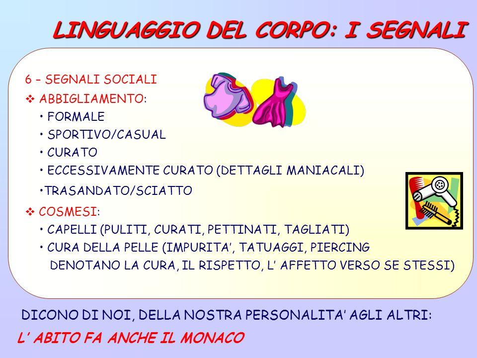 LINGUAGGIO DEL CORPO: I SEGNALI DICONO DI NOI, DELLA NOSTRA PERSONALITA AGLI ALTRI: L ABITO FA ANCHE IL MONACO 6 – SEGNALI SOCIALI ABBIGLIAMENTO: FORMALE SPORTIVO/CASUAL CURATO ECCESSIVAMENTE CURATO (DETTAGLI MANIACALI) TRASANDATO/SCIATTO COSMESI: CAPELLI (PULITI, CURATI, PETTINATI, TAGLIATI) CURA DELLA PELLE (IMPURITA, TATUAGGI, PIERCING DENOTANO LA CURA, IL RISPETTO, L AFFETTO VERSO SE STESSI)
