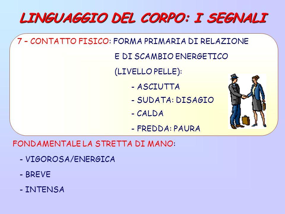LINGUAGGIO DEL CORPO: I SEGNALI FONDAMENTALE LA STRETTA DI MANO: - VIGOROSA/ENERGICA - BREVE - INTENSA 7 – CONTATTO FISICO: FORMA PRIMARIA DI RELAZIONE E DI SCAMBIO ENERGETICO (LIVELLO PELLE): - ASCIUTTA - SUDATA: DISAGIO - CALDA - FREDDA: PAURA