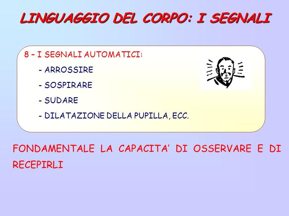 LINGUAGGIO DEL CORPO: I SEGNALI FONDAMENTALE LA CAPACITA DI OSSERVARE E DI RECEPIRLI 8 – I SEGNALI AUTOMATICI: - ARROSSIRE - SOSPIRARE - SUDARE - DILATAZIONE DELLA PUPILLA, ECC.