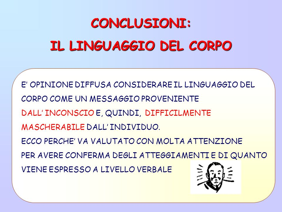 CONCLUSIONI: IL LINGUAGGIO DEL CORPO E OPINIONE DIFFUSA CONSIDERARE IL LINGUAGGIO DEL CORPO COME UN MESSAGGIO PROVENIENTE DALL INCONSCIO E, QUINDI, DIFFICILMENTE MASCHERABILE DALL INDIVIDUO.
